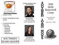 Skills Camp - College of Southern Idaho Athletics