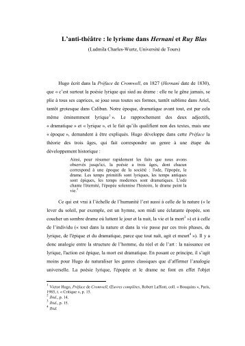 """L'anti-théâtre : le lyrisme dans Hernani et Ruy Blas"""