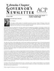GOVERNOR'S NEWSLETTER - American College of Physicians