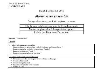 Projet d'école 2006 - 2010 - Sacre-coeur-lambersart.fr