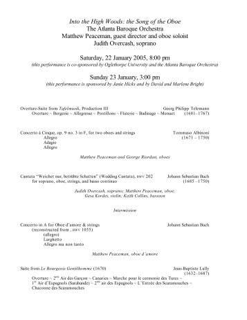 Program  Atlanta Baroque Orchestra