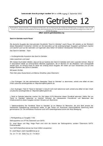 Sand im Getriebe 12 - Attac Berlin