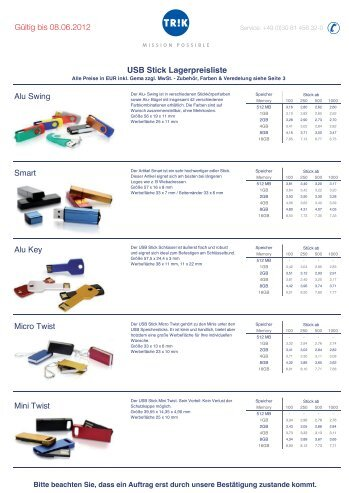 USB Stick Lagerpreisliste Mini Twist Micro Twist Alu Key ... - TRIK