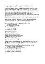 1. Spieltag: Marburg, Samstag 12. Mai 2012 Start 10 Uhr Nicht ganz ...