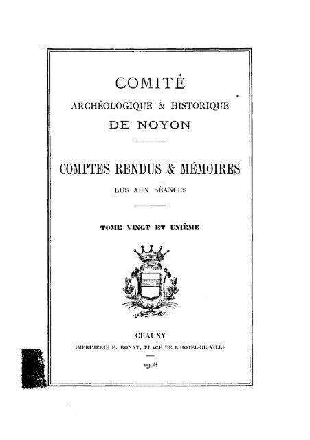 Société Archéologique Historique Et Scientifique De Noyon