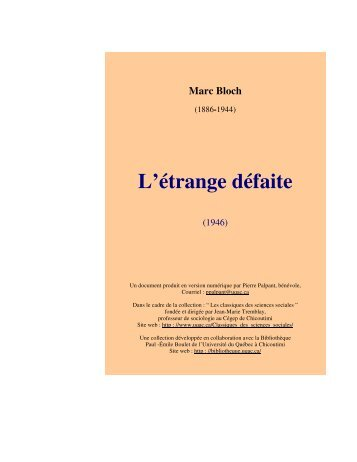 L'étrange défaite - Les Classiques des sciences sociales - UQAC