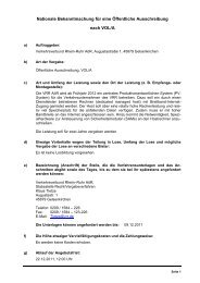 Nationale Bekanntmachung für eine öffentliche Ausschreibung - VRR