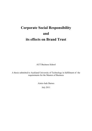 Corporate Social Responsibility and its effects on Brand Trust