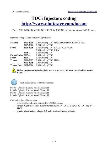 TDCi Injectors coding http: //www obdtester com     - Auto