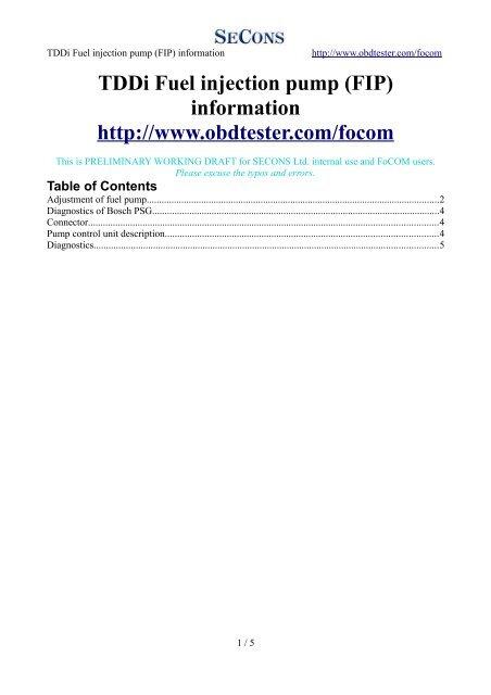 Fuel pump adjustment - Auto diagnostics