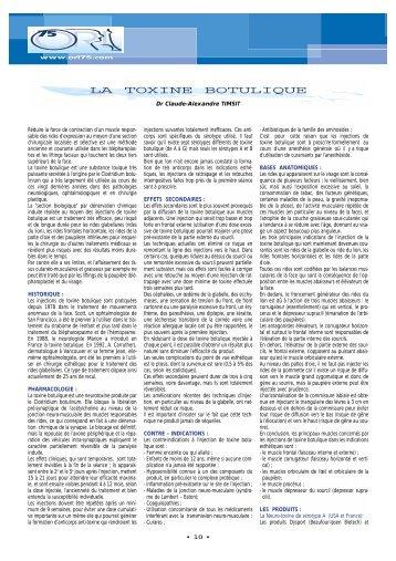 La toxine botulique - Association professionnelle des médecins ORL ...