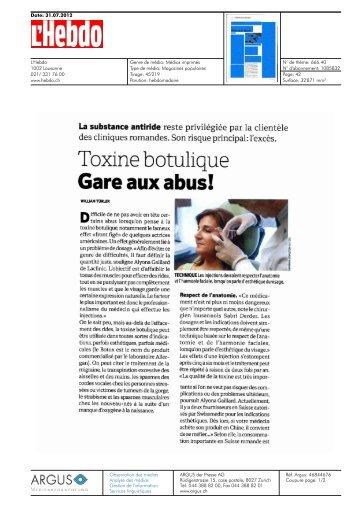 Toxine botulique - Clinique Matignon Suisse
