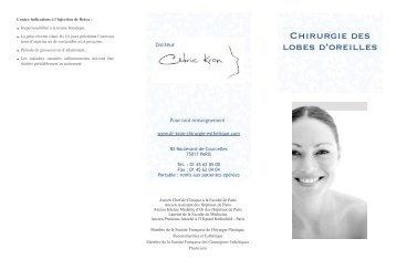 Leaflet machoire - Chirurgie esthétique, plastique et reconstructrice