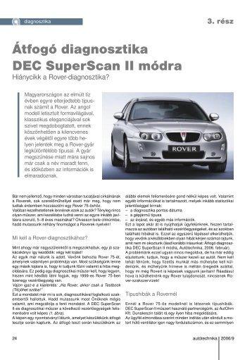 Átfogó diagnosztika DEC SuperScan II módra - Autótechnika