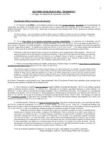 """SENTIDO TEOLÓGICO DEL """"DESIERTO"""" - Autores Catolicos"""