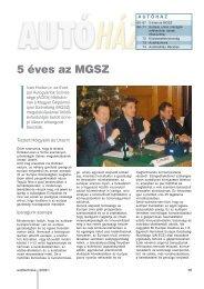 5 éves az MGSZ - Autótechnika