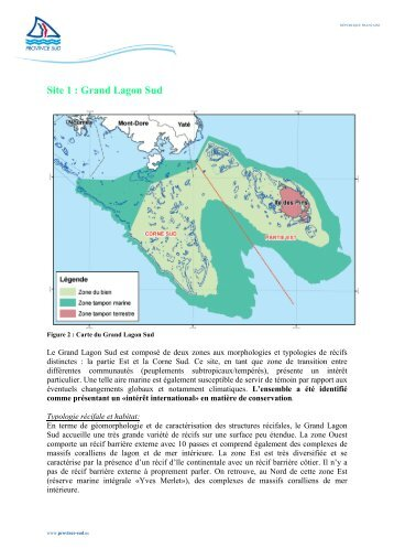 Site 1 : Grand Lagon Sud - Province sud