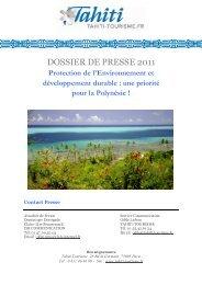 DP Développement durable 2010 - Tahiti Tourisme