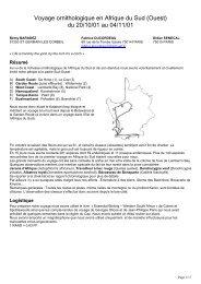 17 pages. Itinéraire quotidien, liste systématique. - LPO