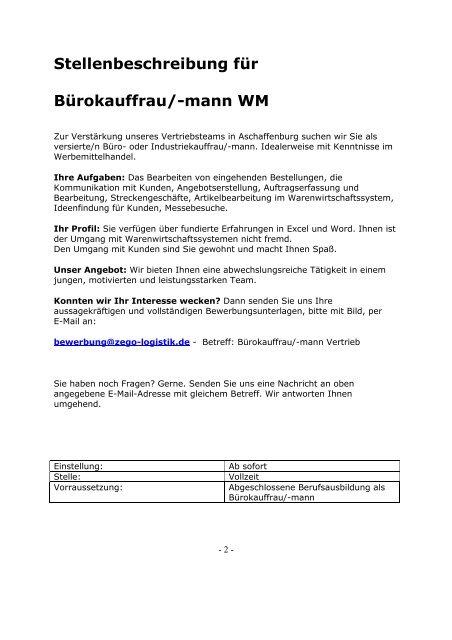 Stellenbeschreibung Fur Burokauffrau Zego Promotion