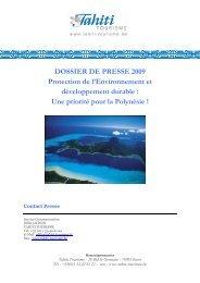 DP Développement durable 2009 BE- revu - Tahiti Tourisme Belgique