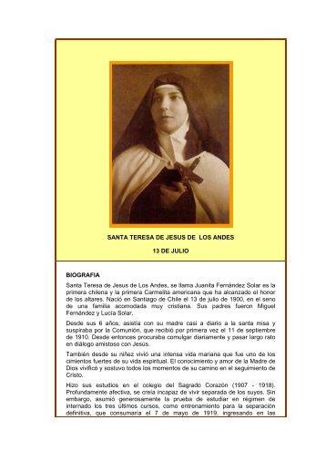 SANTA TERESA DE JESUS DE LOS ANDES - Autores Catolicos