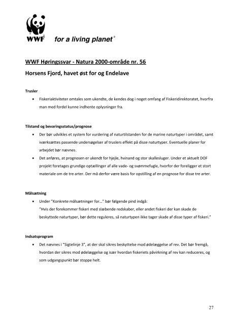 WWF Verdensnaturfondens høringssvar - Natura 2000-område nr ...