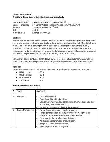 Silabus Manajemen Media Penyiaran 2012 - Ayo Menulis FISIP UAJY