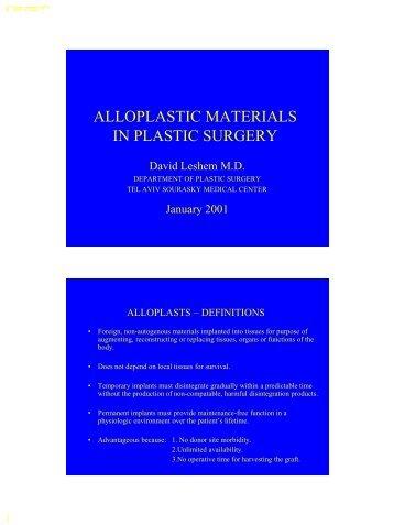 ALLOPLASTIC MATERIALS IN PLASTIC SURGERY