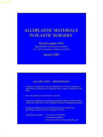 ALLOPLASTIC MATERIALS IN PLASTIC SURGERY