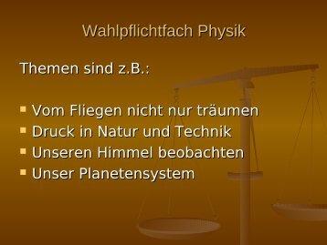 Wahlpflichtfach Physik