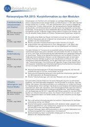 Reiseanalyse RA 2013: Kurzinformation zu den Modulen - B2B
