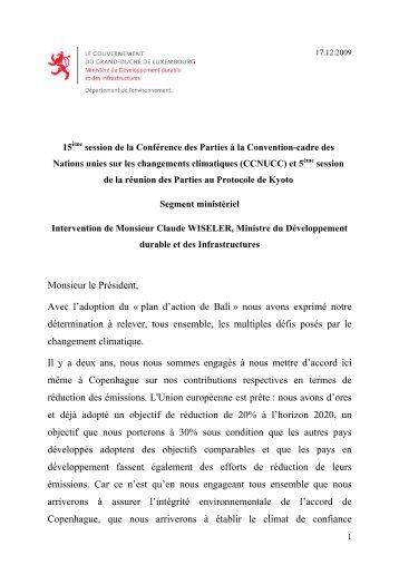 Intervention de Monsieur Claude WISELER, Ministre du ...