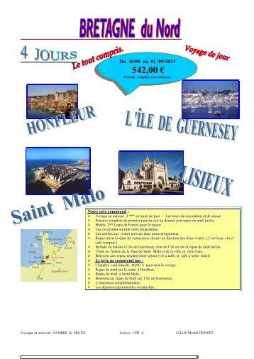 Bretagne du nord 4 jours - Voyages et Autocars Sambre et Meuse