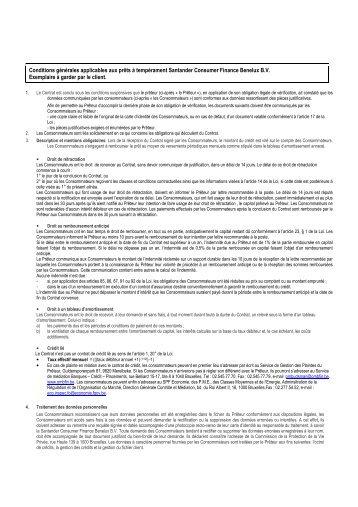 Conditions générales applicables aux prêts à ... - Santander
