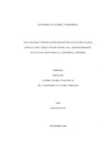 Analyse des constructions résidentielles ... - Archipel - UQAM