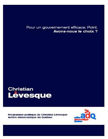 programme politique - Christian Lévesque