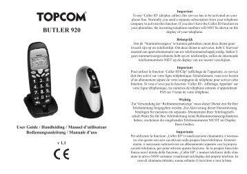 8.2 Supprimer un combiné de la base Topcom Butler 920