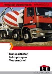 Transportbeton Betonpumpen Mauermörtel - Bachl