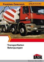 Transportbeton Preisliste - Bachl