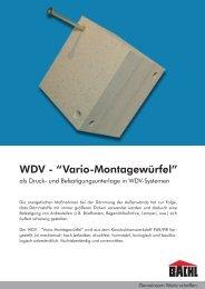 "WDV - ""Vario-Montagewürfel"" - Karl Bachl GmbH & Co KG"