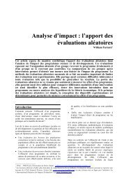 Analyse d'impact : l'apport des évaluations aléatoires - DIAL