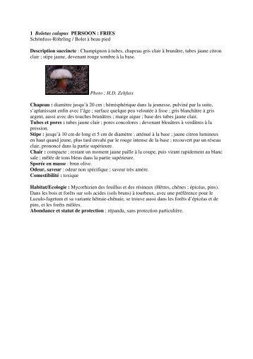 Fiches champignons 1-10 - Parc naturel régional des Vosges du Nord