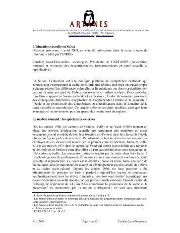 L'éducation sexuelle en Suisse (Version provisoire – avril 2008, en ...