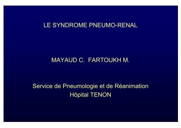 Syndrome pneumo-rénal