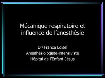 Mécanique respiratoire et influence de l'anesthésie