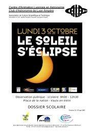 Observation publique - scolaire 9h00 – 12h30 - Club d'astronomie ...