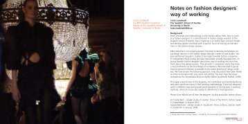 Notes on fashion designers´ way of working - BADA