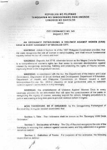 REPUBLIKA NG PILIPINAS - Bacolod City