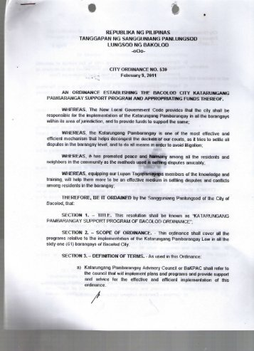 City Ordinance No. 530 - Bacolod City